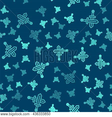 Green Line Crossed Medieval Sword Icon Isolated Seamless Pattern On Blue Background. Medieval Weapon