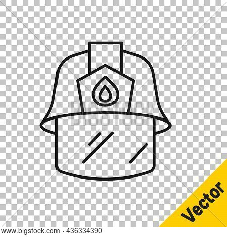 Black Line Firefighter Helmet Or Fireman Hat Icon Isolated On Transparent Background. Vector