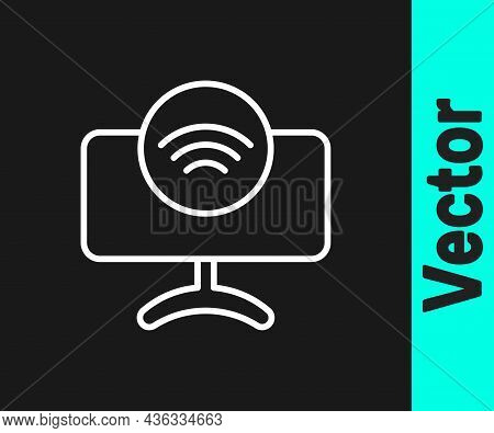 White Line Smart Tv System Icon Isolated On Black Background. Television Sign. Internet Of Things Co