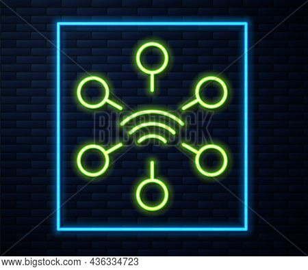 Glowing Neon Line Network Icon Isolated On Brick Wall Background. Global Network Connection. Global