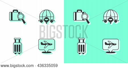 Set Plane, Lost Baggage, Suitcase And Globe With Flying Plane Icon. Vector