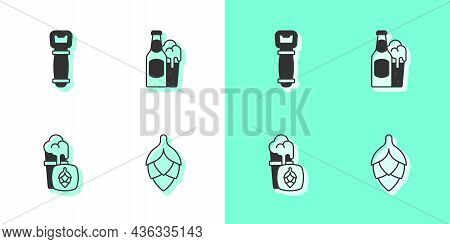 Set Hop, Bottle Opener, Glass Of Beer And Beer Bottle And Glass Icon. Vector