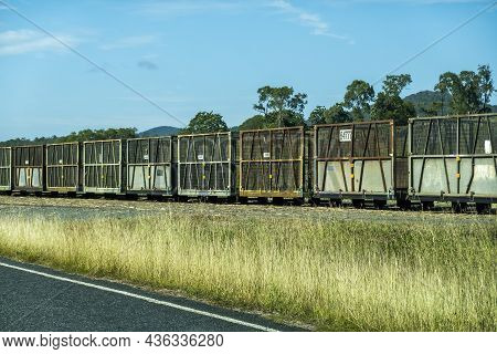 Empty Sugarcane Bins On Railway Tracks At A Siding Waiting To Be Refilled During Harvest Season