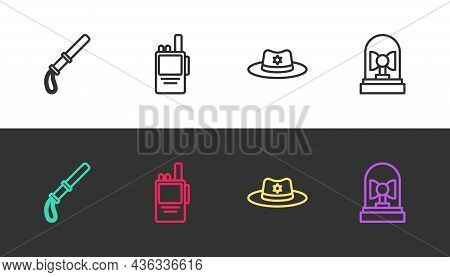 Set Line Police Rubber Baton, Walkie Talkie, Sheriff Hat With Badge And Flasher Siren On Black And W
