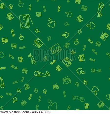 Set Line Radio, Wireless Microphone And Cloud Download On Seamless Pattern. Vector