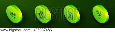 Set Isometric Line Canoe Rowing Team Sports, Compass, Aqualung And Medal Icon. Vector