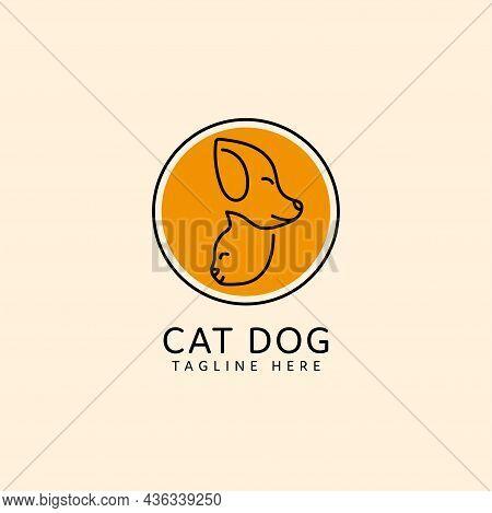 Pet Logo Cat And Dog Head Monoline Design. Pet Shop Logo Design Stock Illustrations. Dog Cat Logo. A