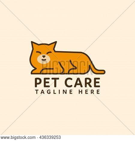 Cat Pet Logo Flat Style Vector Design. Pet Shop Logo Design Stock Illustrations. Dog Cat Logo. Anima
