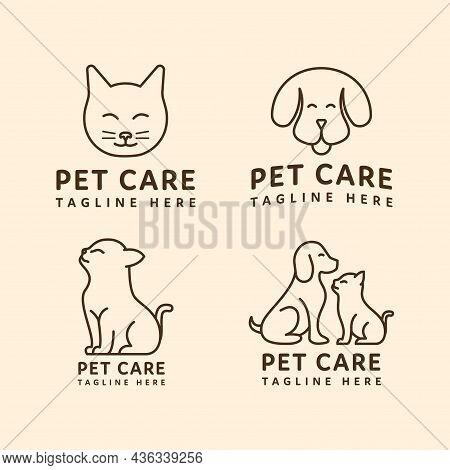 Dog And Cat Pet Logo Monoline Design On Set. Pet Shop Logo Design Stock Illustrations. Dog Cat Logo.