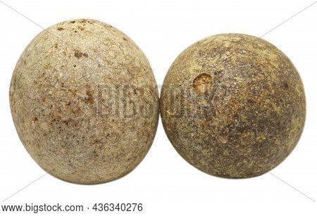 Ripe Pair Of Wood Apples Or Kod Bel Of Southeast Asia