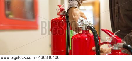 Fire Extinguisher, Engineer Inspection Checking Handle Fire Extinguisher Tank With Fire Hose Cabinet