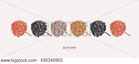 Banner With Aspen Leaves Ornament. Vector Illustration In Hand-drawn Linocut Style