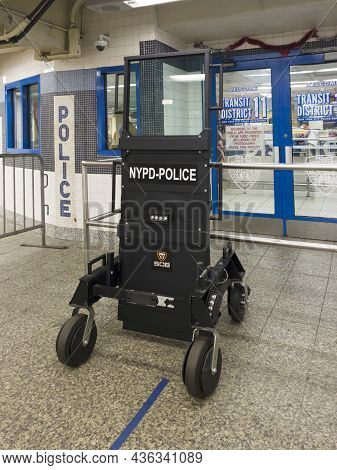 Bronx, New York, Usa - May 7, 2021: Special Ops Bunker On Display At Police Station Inside Yankee St