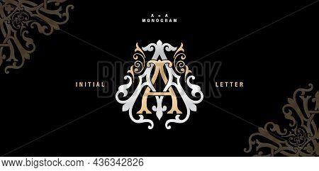 Aa Monogram Classic Style, Aa Initial Wedding Of Minimalist Model, Elegance Applicable For Invitatio