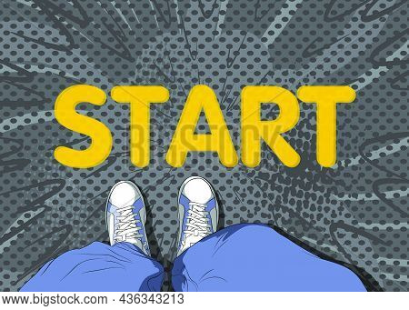 Comic Book Illustrated Vector Image Of Legs In Boots On Start Word. Feet Shoes Walking.