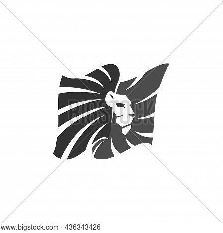 Lion In Flag Illustration Template Emblem Mascot