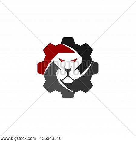 Lion Gear Template Illustration Emblem Mascot Isolated
