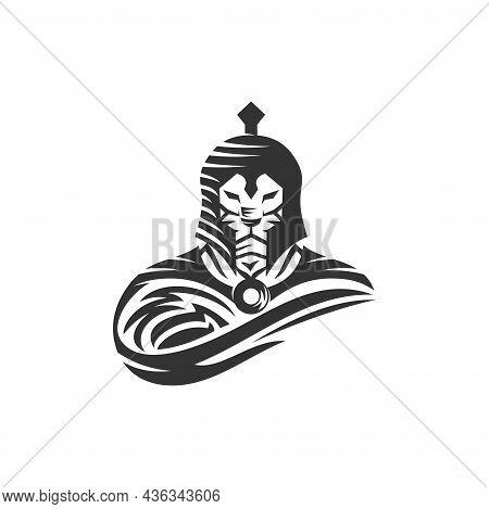 Lion Warrior Spartan Template Illustration Emblem Mascot Isolated