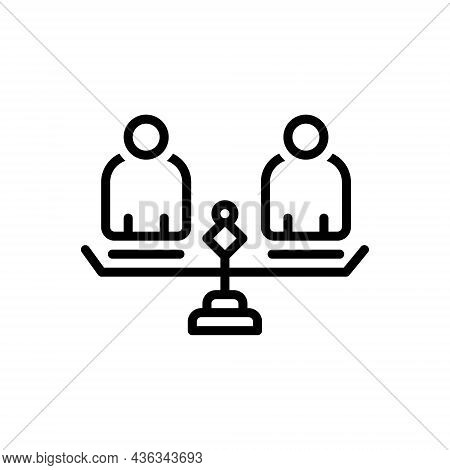 Black Line Icon For Equality Similarity Parity Parallelism Comparison Balance Sameness Evenness