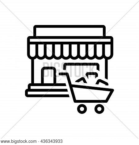 Black Line Icon For Purchases Buying Buy Basket Cart Store Market Shop Shopping