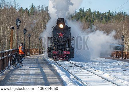 Ruskeala, Russia - March 10, 2021: Retro Train