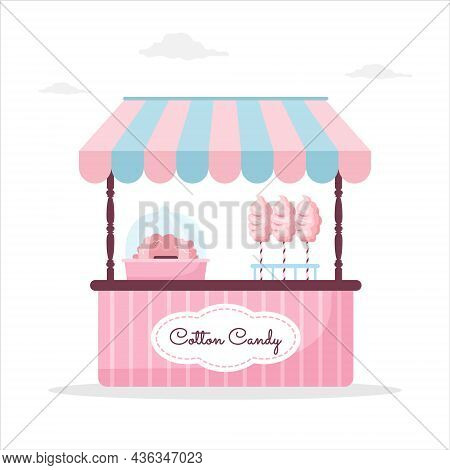 Pink Cotton Candy Stall Counter. Outdoor Market With Street Food. Vector Illustration In Flat Cartoo