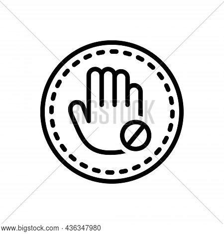 Black Line Icon For Restrict Banned Stop Inhibit Impede Alert Forbidden