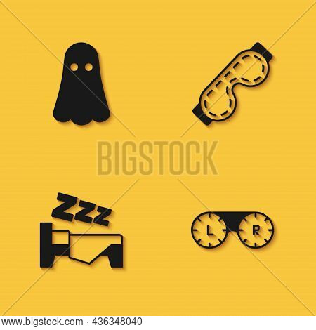 Set Ghost, Contact Lens Container, Time To Sleep And Eye Mask Icon With Long Shadow. Vector