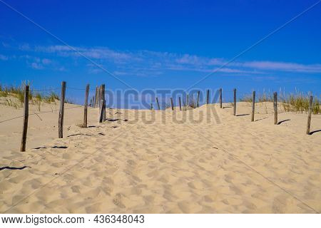 Sandy Nature Pathway Access To Beach Sea In Summer Sea Atlantic Coast In Gironde France