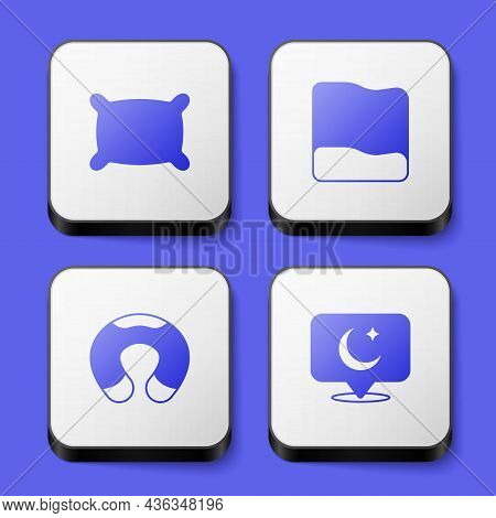 Set Pillow, Travel Neck Pillow And Moon And Stars Icon. White Square Button. Vector