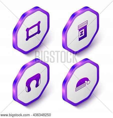 Set Isometric Pillow, Sleeping Pill, Travel Neck Pillow And Hat Icon. Purple Hexagon Button. Vector
