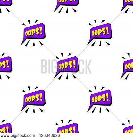 Oops Sound Effect Pattern Seamless Background Texture Repeat Wallpaper Geometric Vector