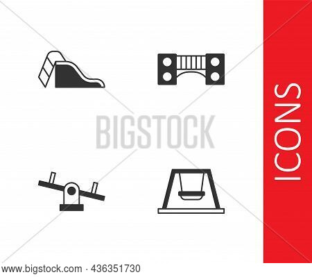 Set Swing For Kids, Slide Playground, Seesaw And Playground Bridge Icon. Vector