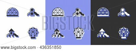 Set Ferris Wheel, Playground Climbing Equipment, Slide Playground And Icon. Vector