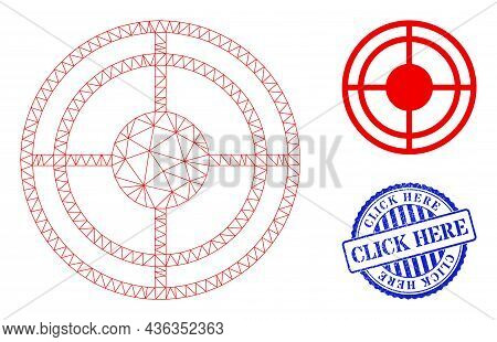 Web Carcass Bullseye Vector Icon, And Blue Round Click Here Scratched Stamp. Click Here Stamp Seal U