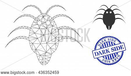 Web Carcass Parasite Vector Icon, And Blue Round Dark Side Textured Stamp. Dark Side Stamp Uses Roun