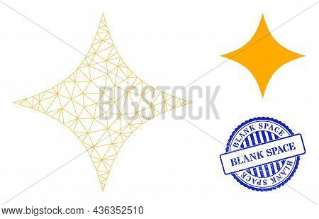 Web Net Space Star Vector Icon, And Blue Round Blank Space Grunge Stamp Imitation. Blank Space Impri
