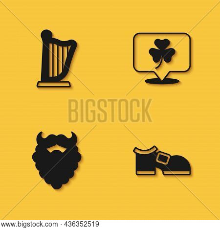 Set Harp, Leprechaun Boot, Mustache And Beard And Clover Trefoil Leaf Icon With Long Shadow. Vector