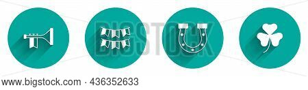 Set Trumpet, Carnival Garland With Flags, Horseshoe And Clover Trefoil Leaf Icon With Long Shadow. V