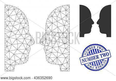 Web Network Dual Face Vector Icon, And Blue Round Number Two Dirty Stamp Print. Number Two Stamp Use