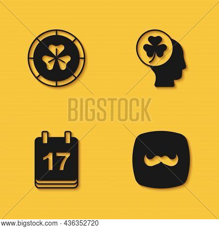 Set Golden Leprechaun Coin, Mustache, Saint Patricks Day With Calendar And Head Clover Trefoil Leaf