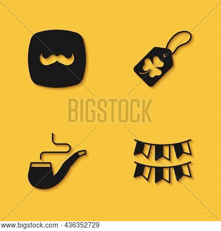 Set Mustache, Carnival Garland With Flags, Smoking Pipe And Clover Trefoil Leaf Tag Icon With Long S