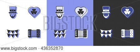 Set Accordion, Leprechaun, Carnival Garland With Flags And Heart Clover Trefoil Leaf Icon. Vector