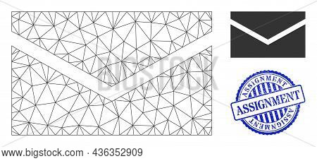 Web Network Mail Vector Icon, And Blue Round Assignment Scratched Stamp Seal. Assignment Stamp Seal