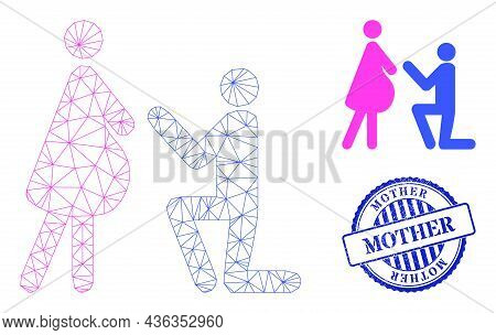 Web Net Pregnant Woman Engagement Vector Icon, And Blue Round Mother Scratched Stamp Print. Mother W