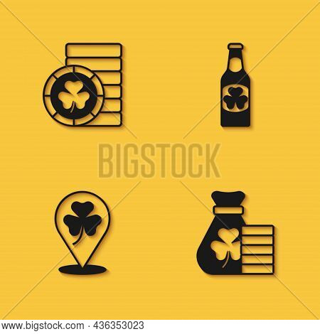 Set Golden Leprechaun Coin, Money Bag With Clover, Clover Trefoil Leaf And Beer Bottle Icon With Lon