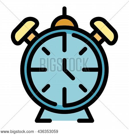 Home Alarm Clock Icon. Outline Home Alarm Clock Vector Icon Color Flat Isolated