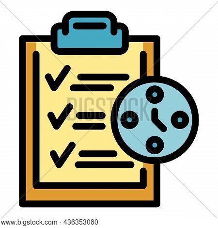 Clipboard Time Management Icon. Outline Clipboard Time Management Vector Icon Color Flat Isolated