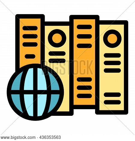 Global Online Catalogs Icon. Outline Global Online Catalogs Vector Icon Color Flat Isolated