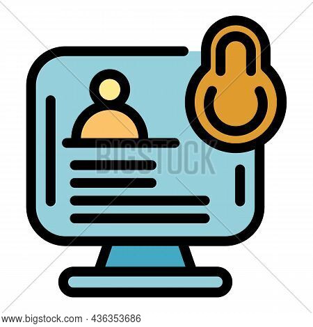 Account Privacy Icon. Outline Account Privacy Vector Icon Color Flat Isolated